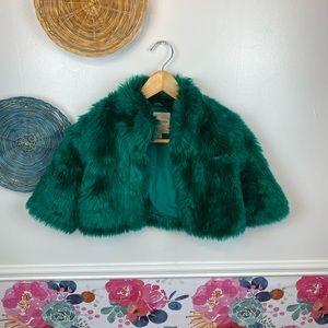 Janie & Jack Emerald Green Faux Fur Little Girls Coat Size 3t-4t Holiday